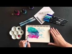 Hand Lettering with Masking Fluid and watercolrs. This is beautiful for those who love to do hand lettering