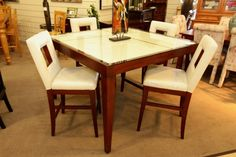 Najarian Pub Table w/ 4 White Leather Chairs - Colleen's Classic Consignment Las Vegas, NV - www.colleenconsign.com
