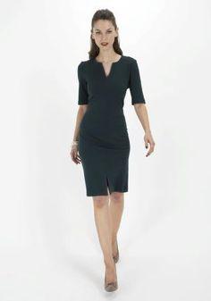 Dark green work dress from Tesco