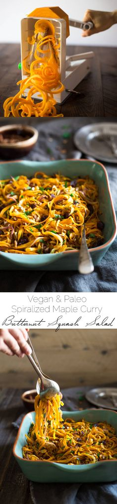Paleo & Vegan Curried Maple Spiralized Apple and Butternut Squash Salad - This salad is full of apples, dates and pecans. It has a spicy-sweet flavor and is a healthy, paleo and vegan friendly side dish!