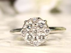 Vintage Engagement Ring 0.60ctw Daisy Diamond Cluster Ring Floral Diamond Wedding Ring 14K White Gold Ring Size 7!