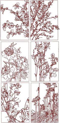 Advanced Embroidery Designs - Redwork Flower Panel Set II