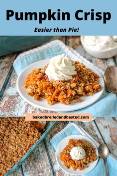 This Pumpkin Crisp has a pumpkin pie type filling and a spicy buttery crisp topping. Easier than pie this will soon be a fall favorite. Pumpkin Crisp, Apple Crisp, Pumpkin Pie Spice, A Pumpkin, Pumpkin Puree, Fall Dessert Recipes, Fall Desserts, Fall Recipes, Ginger Snap Cookies