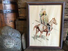 "Vintage Frederic Remington 1956 Penn Prints, NY ""A Bunch of Buckskins"" series ""A Sioux Chief"" Framed Art Print"