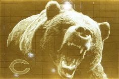 Chicago Bears backlit tape art made with IPG tan packing tape! Sculpture Art, Sculptures, Linear Art, Tape Art, Chicago Bears, Packing, Horses, Animals, Bag Packaging
