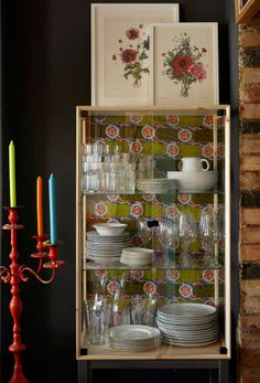 Add a textile background to a crockery cabinet to turn it into a feature piece | #IKEAIDEAS for your dining room