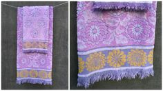 60's Callaway by Milliken Mid Century Lavender and Gold Flower Floral Towels Bath and Hand Size by ElkHugsVintage on Etsy