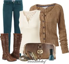 """""""Teal, Cream and Brown, Oh My"""" by wannabchef on Polyvore"""