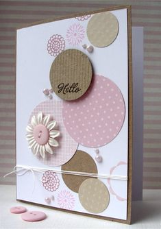 hello card by Lucy Abrams... love the layered circles in different sizes and colors on this