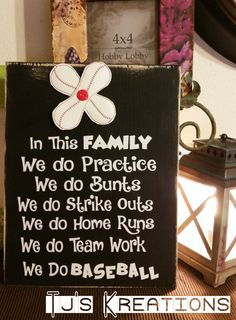 Cute 9 x 12 solid wood with 4 inch embroidered vinyl flower at the top.In this family we do baseball sign. I can also do Softball , check out my other listings. Baseball Buckets, Baseball Signs, Baseball Crafts, Baseball Party, Travel Baseball, Baseball Live, Marlins Baseball, Volleyball Quotes, Volleyball Drills