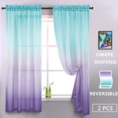 Lilac and Turquoise Curtains for Bedroom Girls Room Decor Set of 2 Panels Ombre Patterned Window Semi Sheer Curtains for Living Room Kids Nursery Mermaid Themed Green and Purple 52 x 84 Inch Length - Modern Little Mermaid Bedroom, Mermaid Room Decor, Mermaid Nursery Theme, Mermaid Kids Rooms, Turquoise Curtains, Turquoise Room, Girls Bedroom Turquoise, Ombre Curtains, Girl Bedroom Designs