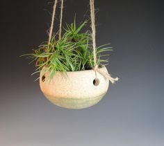 Hanging Planter  Ceramic Plant pot Handmade Speckled by CrackledUp