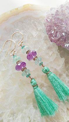 Boho Amethyst Aquamarine Apatite Earring by EmeraldDesignJewelry