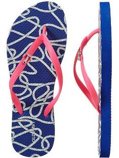 old navy flip flops - blue, pink, and an anchor charm? perfect