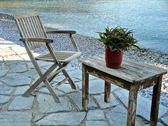 Lovely corner in Livadia promenade Outdoor Chairs, Outdoor Furniture Sets, Outdoor Decor, Greek Islands, Folding Chair, Greece, Corner, Home Decor, Greek Isles