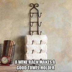 towel rack made from an old wine rack