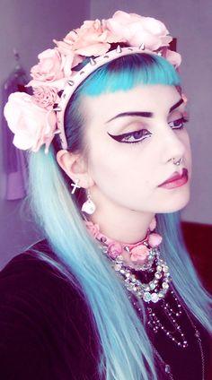 Bangs. Pastel blue. Alternative style.