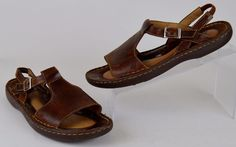 Born Handcrafted Women's Sz 9 M Brown Leather Slingback Buckled Open Toe Sandals #Brn #Slingbacks #Casual