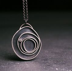 Diamond and sterling silver pendant   Orbit  by hartleystudio