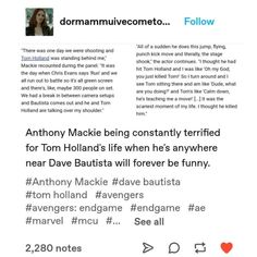 Why I love tom and makie Avengers Cast, Avengers Memes, Marvel Memes, Marvel Avengers, Marvel Comics, Marvel Actors, Marvel Characters, Univers Marvel, Dc Movies