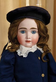 Rare German Bisque Doll by Kestner with Distinctive Expression Known as A>T> Kestner 23""