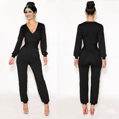 palazzo jumpsuit body negro pantalón vestido talla mediana a