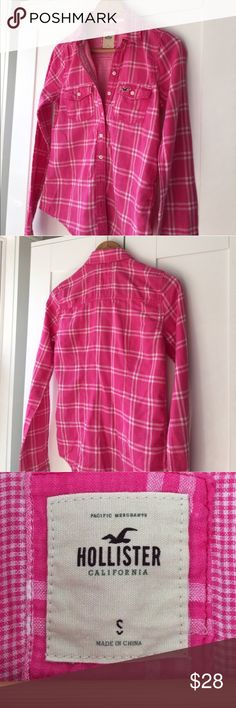 Hollister Pink Flannel Shirt Super cozy & comfy pink flannel shirt. Perfect for the fall/winter season!! No longer available in stores. Size Small. EUC. Hollister Tops Button Down Shirts