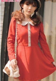 3269 Women Collage Style White Collar Long Sleeve Orange Cotton Dress