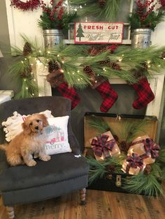 30 Best And Classic Collection Of Plaid Christmas Decor Christmas Mantels, Plaid Christmas, Primitive Christmas, Country Christmas, Winter Christmas, Christmas Holidays, Christmas Wreaths, Christmas Crafts, Cabin Christmas Decor