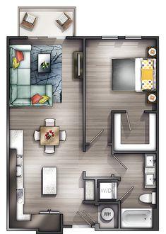 Super Apartment Architecture Design Floor Plans Bedrooms Ideas - Home & DIY Home Design Floor Plans, House Floor Plans, Plan Design, Design Ideas, Design Design, Apartment Layout, Apartment Interior, Apartment Ideas, Bedroom Apartment
