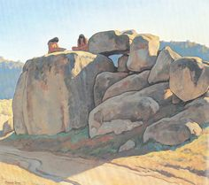 """Neolithic Afternoon Oil on Canvas 1930 36 """" x 40 """" Image courtesy Maynard Dixon Museum and Medicine Man Gallery Tucson Pierre Auguste Renoir, Landscape Art, Landscape Paintings, Western Landscape, Landscape Illustration, Oil Paintings, Landscapes, Imagen Natural, Maynard Dixon"""