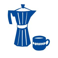 But first, coffee. Happy morning! Blue coffee machine and cup illustration by Myriam Van Neste
