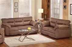 Avalon Cocoa Fabric Wood Living Room Set