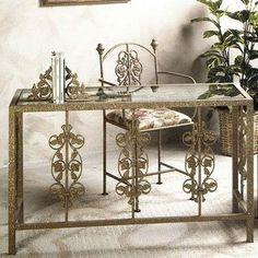 "Grace 49"" W Garden Writing Desk with Glass Insert Metal Finish: Antique Bronze, Side Panel: Vineyard"