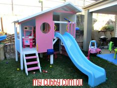 This cubby is so cute! The blue & pink pastel colours are perfect for a little princess. This cubby has everything the kids need. 3 levels of fun including the lower level that has been decked in for a chill out zone plus a sandpit.  The telescope & slide round out the super fun features of the top level. So many possibilities for free play & imagination play here