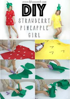 MUSUES COSTUME___Transform your t-shirts into strawberry & pineapple costumes! Super cute DIY for Halloween. T-shirt hack Theme Halloween, Cute Halloween Costumes, Holidays Halloween, Halloween Diy, Easy Diy Costumes, Pineapple Girl, Meme Costume, Fantasias Halloween, Halloween Disfraces