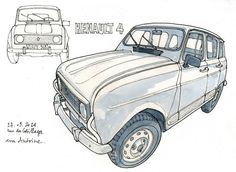 Renault 4 by gerard michel, via Flickr Vw Cars, Car Sketch, Fiat 500, Michel, Car Car, Cars And Motorcycles, Vintage Cars, Mustang, Jeep