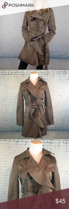 """Sandro Studio Ruffled Trench Coat Shell: polyester, lining: polyester. Like-new condition. Two pockets in front. Fully lined. In between an olive green and light brown color. Very flattering with the tie waist, ruffle detail adds some femininity. When buttoned, armpit to armpit measures 18"""" (with some extra room built in for the ladies). Total length is approx. 31"""" Sandro Studio Jackets & Coats Trench Coats"""