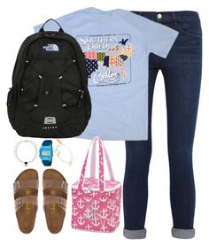 """""""In with the old and out with the new."""" by kaley-ii ❤ liked on Polyvore featuring Frame Denim, The North Face, Birkenstock, Feather & Stone and Freestyle"""