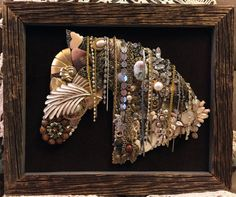 Beautiful Vintage Jewelry Framed Art Horse by UpCycledAssemblage