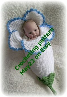 This is the crochet pattern for the Flower cocoon that you see in the picture. If you are just learning to crochet this pattern might be too difficult for