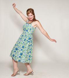 Vintage 1950s Dress Seersucker Floral Summer Fashions 1960s. $95.00, via Etsy.