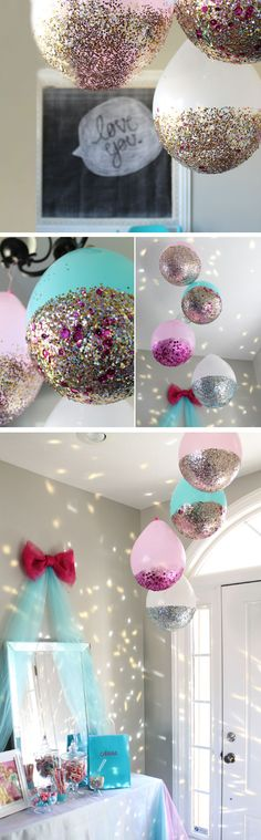 DIY Glitter Balloons-- They say these are for your next New Years party, but I say these are for your next Baby Shower! Who doesn't love Glitter balloons? Disco Party, Disco Ball, Nye Party, Glitter Balloons, Confetti Balloons, Hanging Balloons, Mermaid Balloons, Orange Balloons, Unicorn Birthday Parties