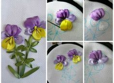 Learn how to embroider violet satin ribbons