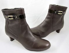 Cole Haan Nike Air Lana Ankle Boots Side Zipper Dark Chocolate Brown Leather