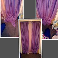 What Happens When The Curtain Is Too Long Tie Bottom With An Elastic And Make Something Out Of It No Hemming Required