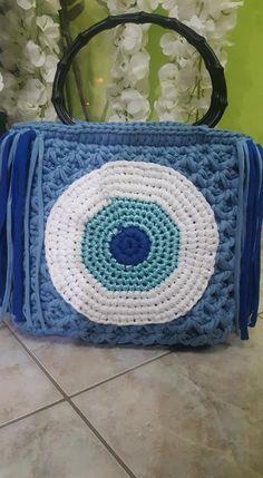 Πλεκτή Τσάντα Tote Blue Eye Handmade Bags, Throw Pillows, Crochet, Blue, Handmade Handbags, Toss Pillows, Cushions, Decorative Pillows, Ganchillo