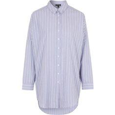 TOPSHOP Striped Pajama Night Shirt (66 CAD) ❤ liked on Polyvore featuring intimates, sleepwear, pajamas, lilac, cotton night shirt, button front pajamas, cotton nightshirt, striped pjs and cotton sleepwear