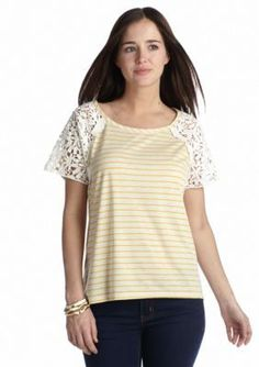 Red Camel  Stripe Crochet Top