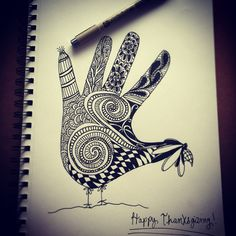 Hand turkey with a zentangle twist! Hand Turkey, Too Cool For School, Zentangles, Hand Henna, Hand Tattoos, Thanksgiving, Hands, Craft Ideas, Cool Stuff